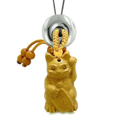 Maneki Neko Fortune Cat Car Charm or Home Decor Hematite Coin Donut Protection Powers Magic Amulet