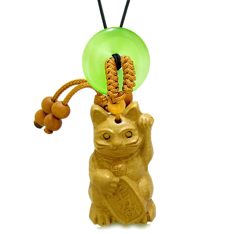 Maneki Neko Fortune Cat Car Charm or Home Decor Green Simulated Cats Eye Lucky Coin Donut Protect Amulet