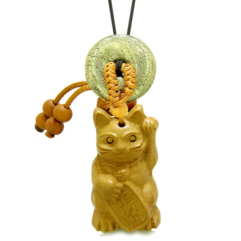 Maneki Neko Fortune Cat Car Charm or Home Decor Golden Pyrite Iron Lucky Coin Donut Protection Amulet