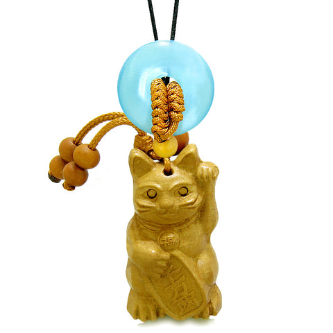 Maneki Neko Fortune Cat Car Charm or Home Decor Blue Simulated Cats Eye Lucky Coin Donut Protect Amulet
