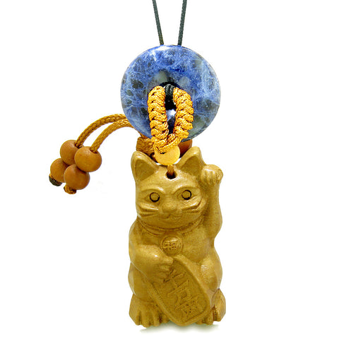 Maneki Neko Fortune Cat Car Charm or Home Decor Sodalite Coin Donut Protection Powers Magic Amulet