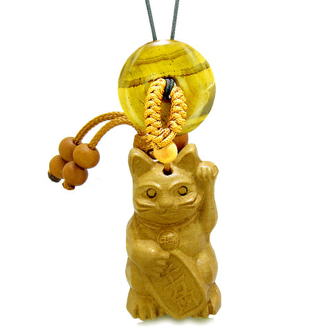 Maneki Neko Fortune Cat Car Charm or Home Decor Tiger Eye Coin Donut Protection Powers Magic Amulet