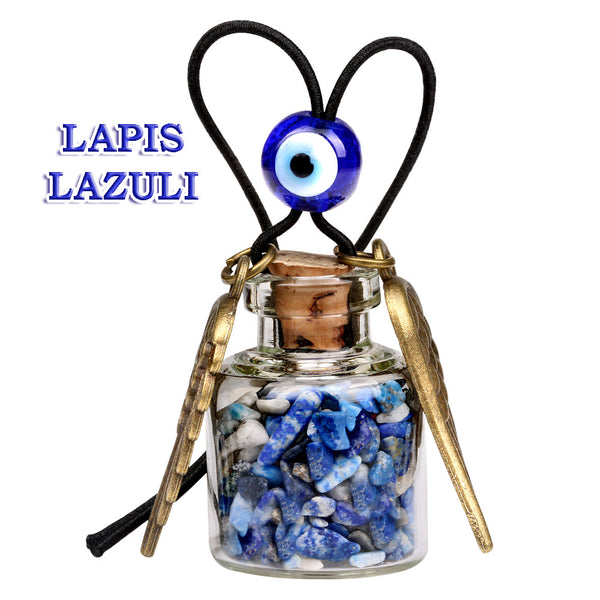 Angel Magic Wings Small Car Charms Home Decor Gem Bottles Quartz Lapis Lazuli Protection Amulets
