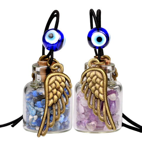 Angel Magic Wings Small Car Charms Home Decor Gem Bottles Amethyst Lapis Lazuli Protection Amulets