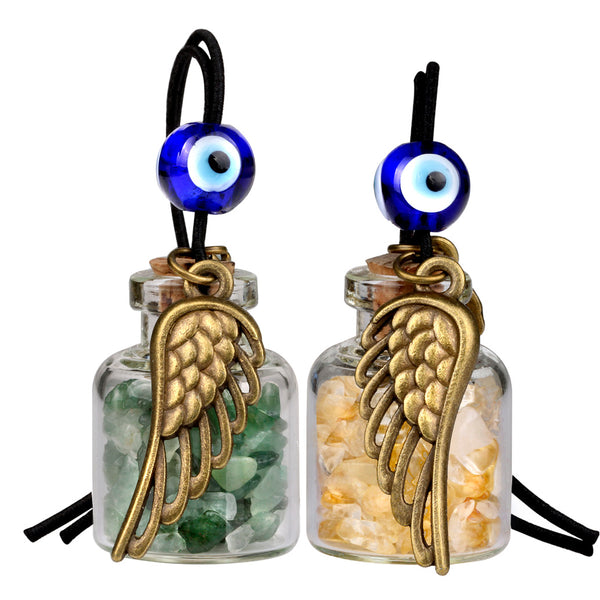 Angel Magic Wings Small Car Charms Home Decor Gem Bottles Citrine Green Quartz Protection Amulets