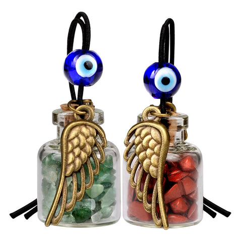 Angel Magic Wings Small Car Charms Home Decor Gem Bottles Jasper Green Quartz Protection Amulets