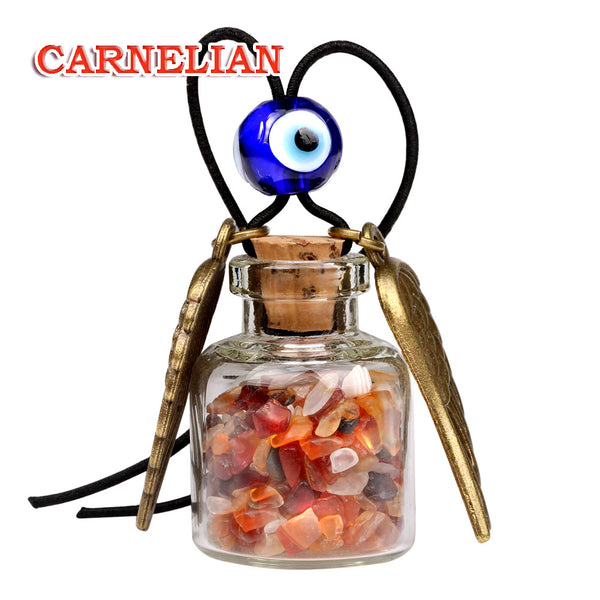 Angel Magic Wings Small Car Charms Home Decor Gem Bottles Carnelian Moss Agate Protection Amulets