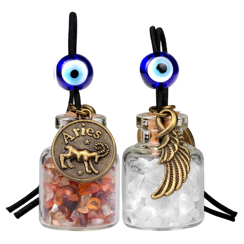 Zodiac Aries Angel Wings Small Car Charms Home Decor Bottles Carnelian Quartz Birthstone Amulets