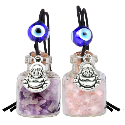 Lucky Happy Buddha Small Car Charms or Home Decor Bottles Amethyst Rose Quartz Protection Amulets