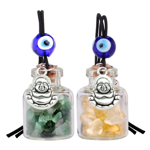 Lucky Happy Buddha Small Car Charms or Home Decor Bottles Green Quartz Citrine Protection Amulets