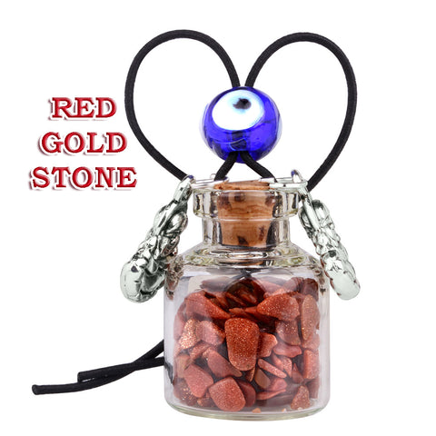 Lucky Happy Buddha Small Car Charms or Home Decor Bottles Blue Red Goldstone Protection Amulets