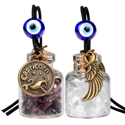 Zodiac Capricorn Angel Wings Small Car Charms Home Decor Bottles Smoky Quartz Birthstone Amulets