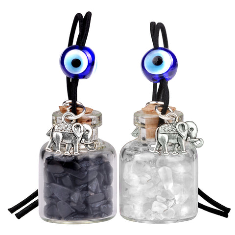 Lucky Elephants Magic Small Car Charms Home Decor Bottles Quartz Black Obsidian Protection Amulets