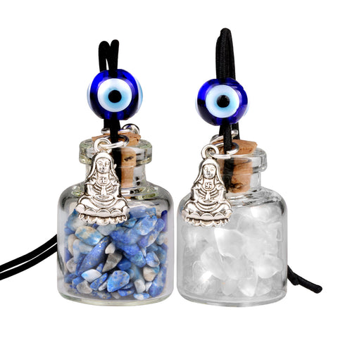 Kwan Yin Quan Small Car Charms Home Decor Gem Bottles Crystal Quartz Lapis Lazuli Amulets