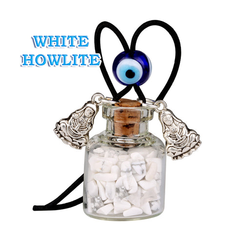 Kwan Yin Quan Small Car Charms Home Decor Gem Bottles Fluorite White Howlite Protection Amulets