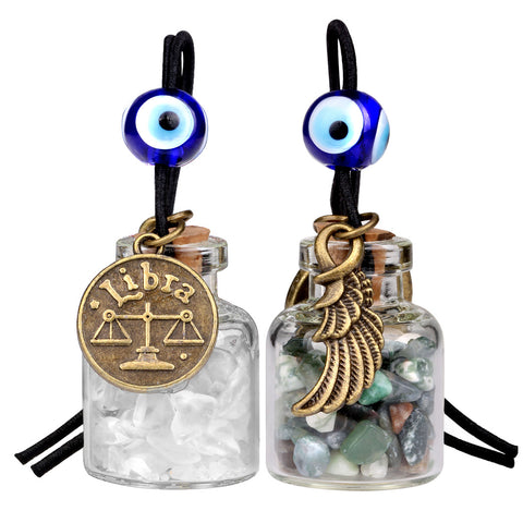 Zodiac Libra Angel Wings Small Car Charms Home Decor Bottles Moss Agate Quartz Birthstone Amulets