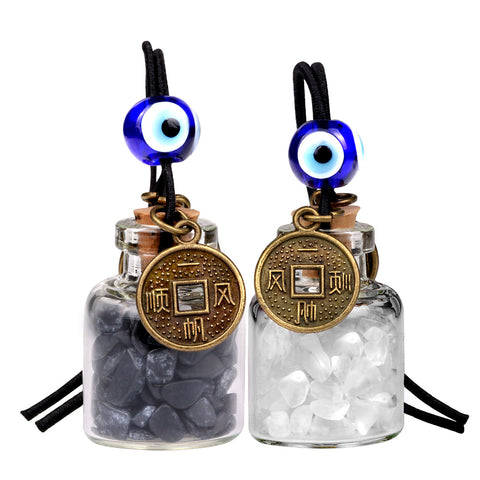 Lucky Coins Magic Small Car Charms Home Decor Gem Bottles Quartz Black Obsidian Protection Amulets