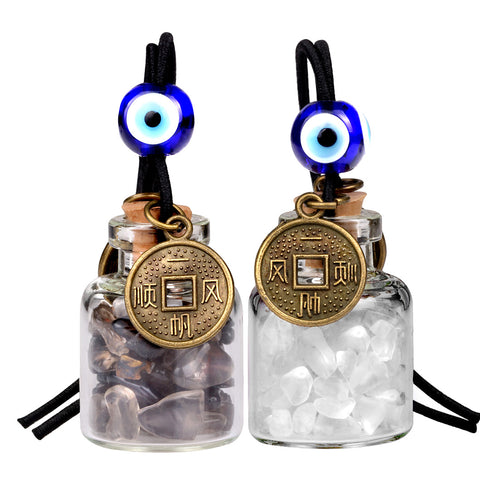 Lucky Coins Magic Small Car Charms Home Decor Gem Bottles Smoky Crystal Quartz Protection Amulets