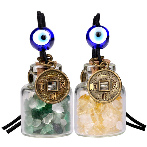 Lucky Coins Magic Small Car Charms Home Decor Gem Bottles Green Quartz Citrine Protection Amulets