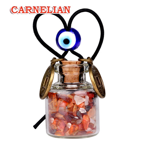 Lucky Coins Magic Small Car Charms Home Decor Gem Bottles Carnelian Moss Agate Protection Amulets