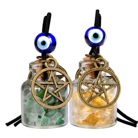 Star Magic Pentacle Small Car Charms Home Decor Gem Bottles Green Quartz Citrine Protection Amulets