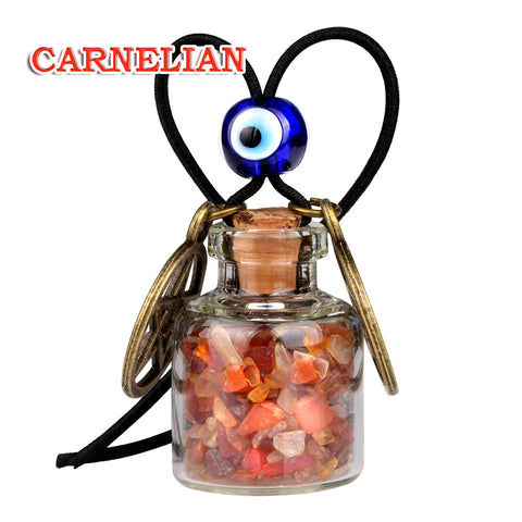 Star Magic Pentacle Small Car Charms Home Decor Gem Bottles Carnelian Moss Agate Protection Amulets