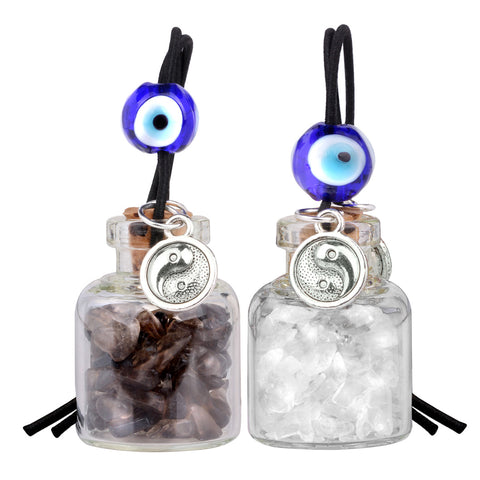 Balance Yin Yang Small Car Charms or Home Decor Gem Bottles Smoky Crystal Quartz Protection Amulets
