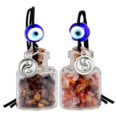Balance Yin Yang Small Car Charms or Home Decor Gem Bottles Carnelian Tiger Eye Protection Amulets