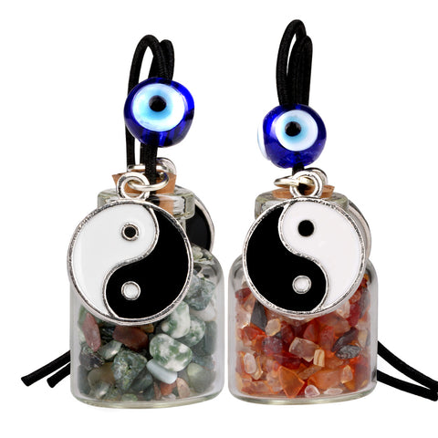 Yin Yang Balance Small Car Charms Home Decor Bottles Carnelian Green Moss Agate Protection Amulets