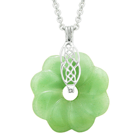 Celtic Shield Knot Protection Powers Amulet Green Quartz Lucky Flower Donut Pendant Necklace