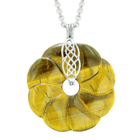 Large Celtic Shield Knot Protection Powers Amulet Tiger Eye Lucky Flower Donut Pendant Necklace