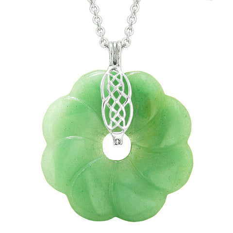 Large Celtic Shield Knot Protection Power Amulet Green Quartz Lucky Flower Donut Pendant Necklace