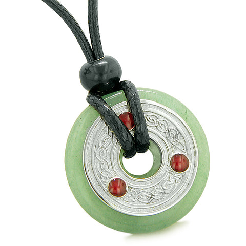 Amulet Celtic Triquetra Knot Lucky Coin Donut Charm Green Quartz Magic ProtectiPendant Necklace