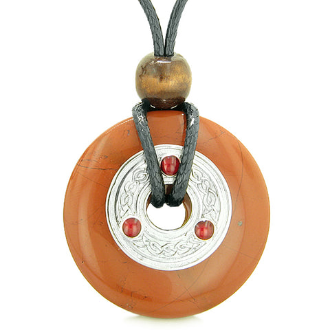 Large Celtic Triquetra Knot Amulet Lucky Coin Donut Charm Red Jasper Magic Pendant Necklace