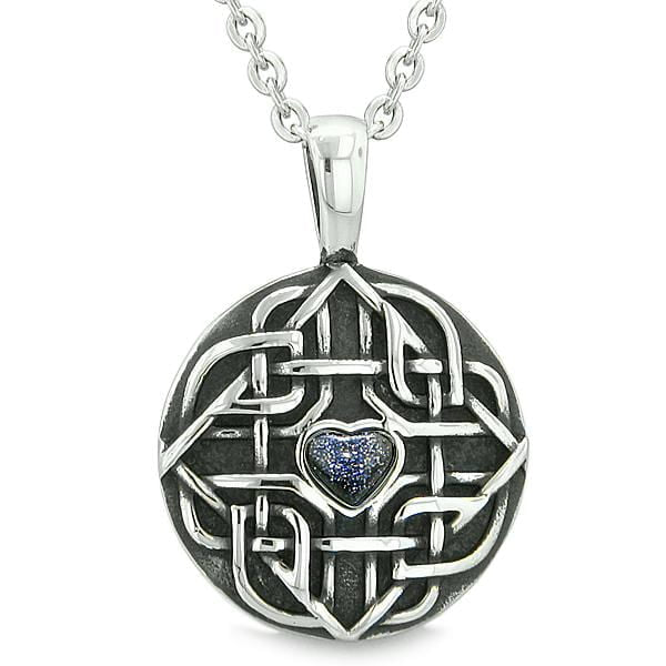 "Amulet Celtic Shield Knot Magic Heart and Protection Powers Blue Goldstone Pendant 22"" Necklace"
