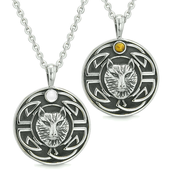 Amulets Love Couple or Best Friends Celtic Viking Wolf Set White Cats Eye and Tiger Eye Necklaces