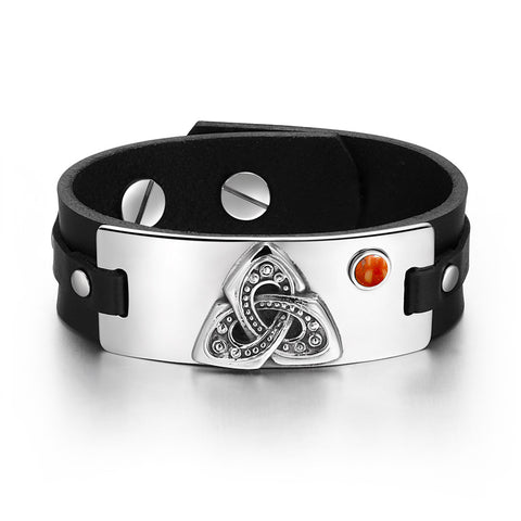 Celtic Triquetra Knot Magic Powers Amulet Tag Red Jasper Gemstone Adjustable Black Leather Bracelet