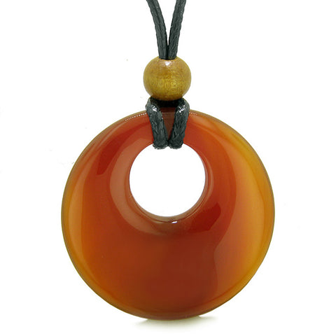 Amulet Large Medallion Circle Coin Shaped Donut Protection and Magical Powers Carnelian Charm Necklace