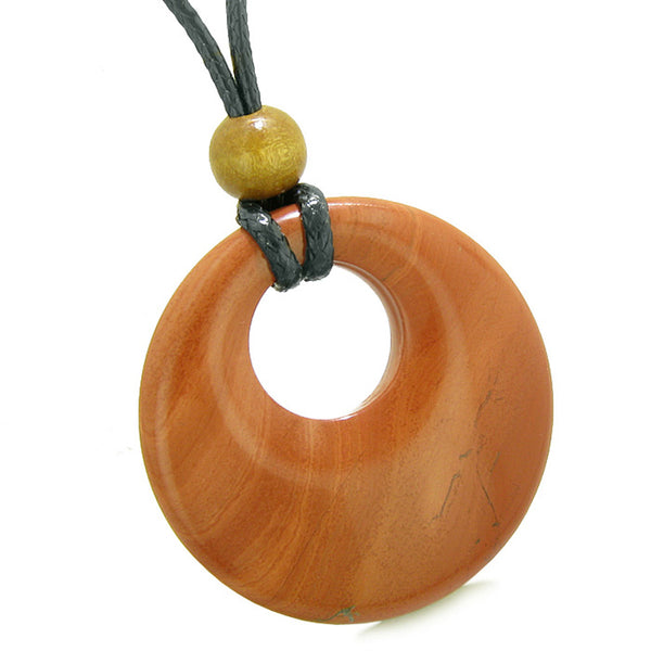 Amulet Large Medallion Circle Coin Shaped Donut Protection and Magical Powers Red Jasper Charm Necklace