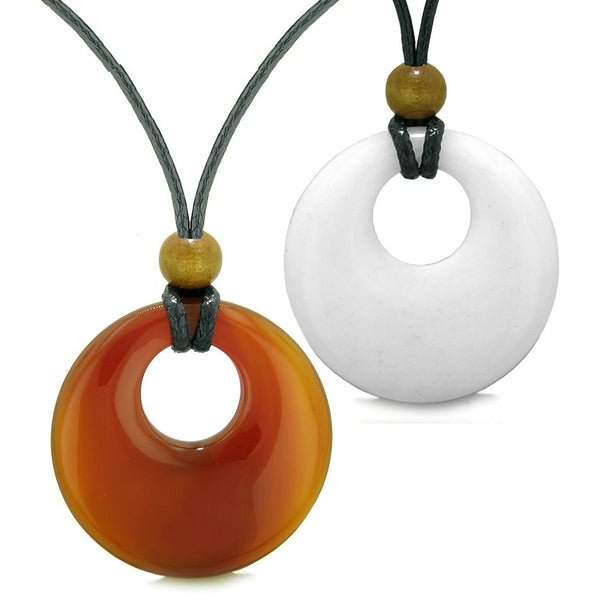 Large Medallion Coin Donut Love Couples or Best Friends Magic Amulet Set Carnelian White Quartz Necklaces