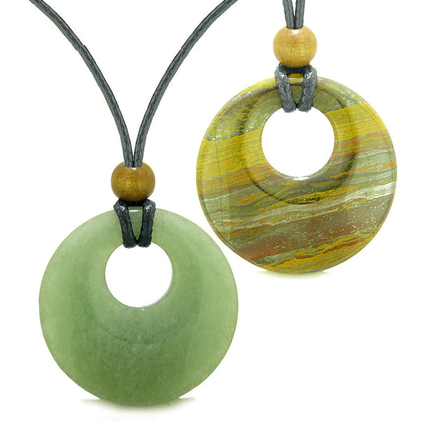 Large Medallion Coin Donuts Love Couples Best Friends Magic Amulets Set Green Quartz Tiger Iron Necklaces