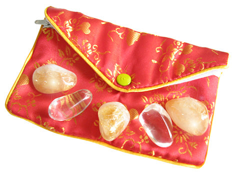 Business Attractor Talisman Pouch In Citrine And Crystals