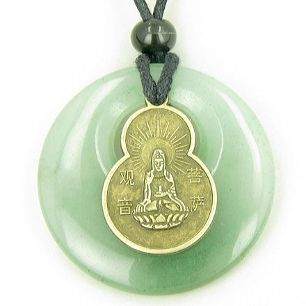 Magic Circle Kwan Yin Quan Tibetan Money Talisman Coin Necklace