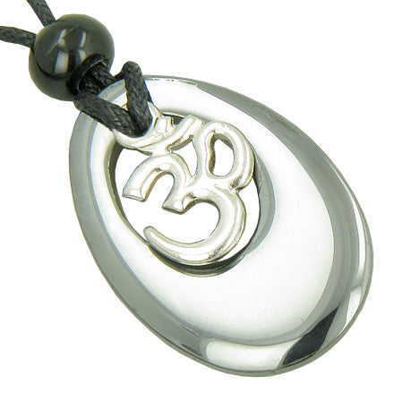 Hematite OM Lucky and Evil Protection Talisman Gemstone Necklace