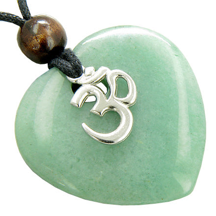 Magic Heart Om Aventurine Gem Money Talisman Pendant Necklace