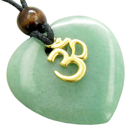 Magic Heart Om Aventurine Gem Money Talisman Necklace Pendant