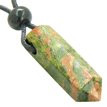 Spiritual Protection Talisman Crystal Point Pendant Necklace in Unakite Gemstone