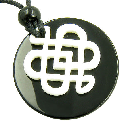 Black Onyx And White Bone Celtic Shield Knot Amulet Necklace
