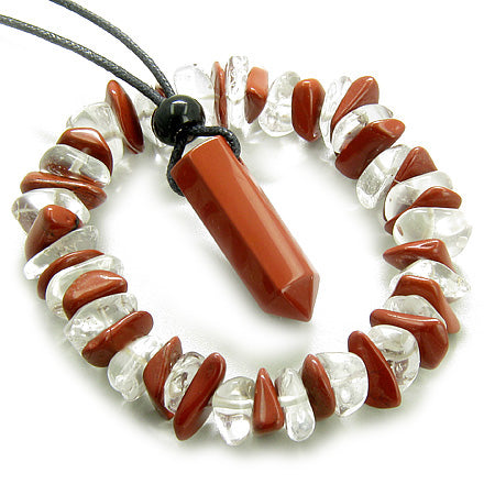 Double Lucky Crystal Point Necklace Bracelet Set in Red Jasper
