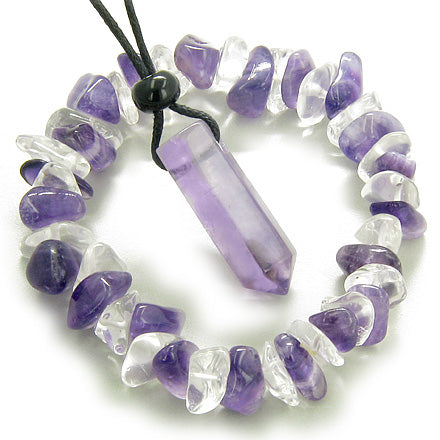 Safe Travel Talisman Crystal Point and Bracelet Set in Amethyst